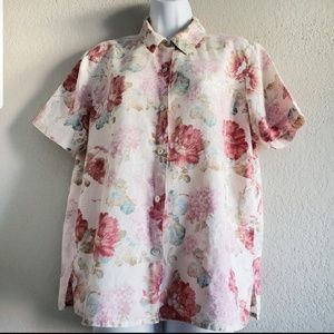 b789552b8a768 Lemon Grass floral button down shirt size M